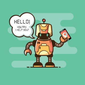 Image of robot holding phone for UpLync business phone service provider