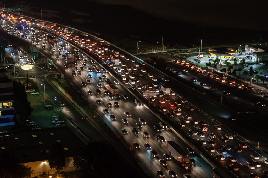 Traffic jam depicting voip phone gridlock